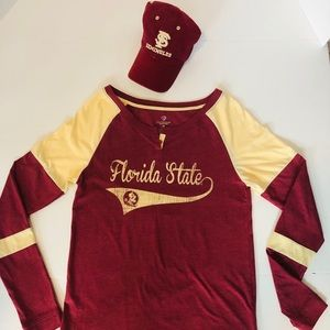 FLORIDA STATE FSU Noles button long sleeve And Hat
